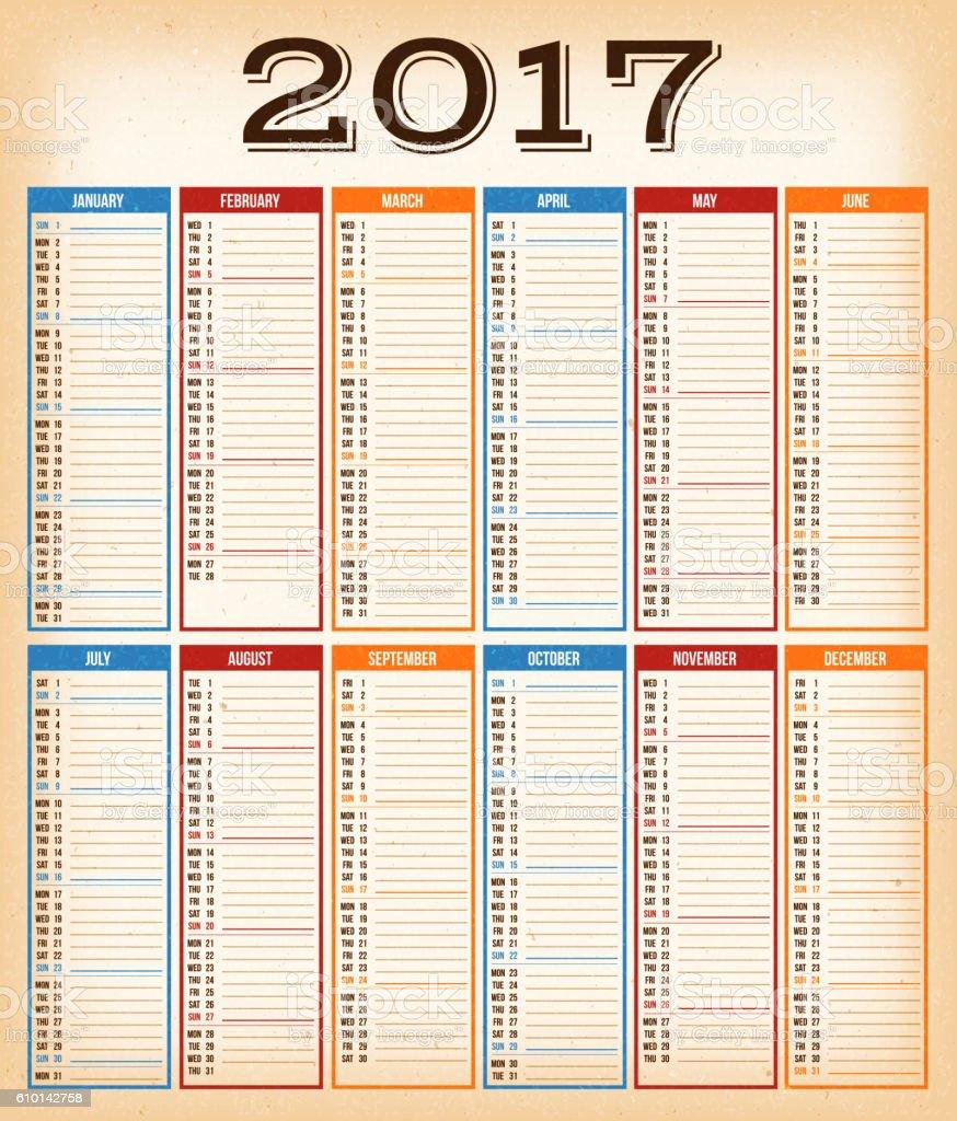 Vintage Design Calendar For Year 2017 ベクターアートイラスト