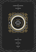 Monogram creative card template with beautiful flourishes ornament elements. Elegant design for corporate identity, invitation. Design of background products.