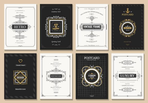 빈티지 디자인식 카드 - 모던 양식 stock illustrations