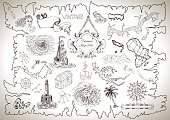 Vintage design collection for treasure or pirate map