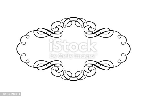 Vintage design element. Frame isolated on white background. Decorative element of wedding card