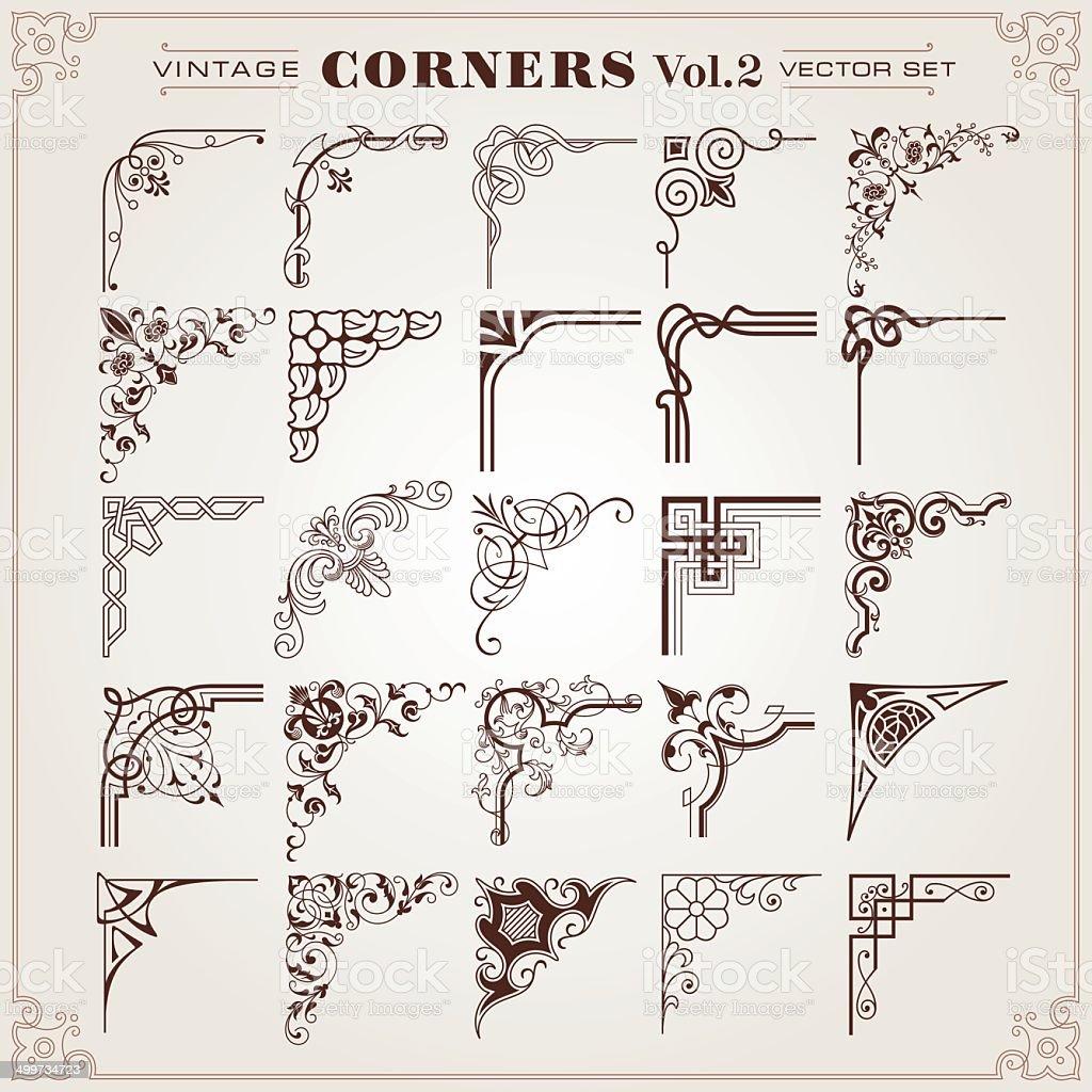 Vintage Design Elements Corners And Borders vector art illustration