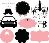 Vintage design elements isolate on white ( black & pink )