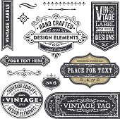 Set of vintage style design elements.  EPS10 file contains transparencies. Textures are on separate layers.  AI10 file with font list and hi res jpeg included. Scroll down to see more illustrations linked below.