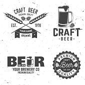 Set of Craft Beer badges with hops and bear. Vector illustration. Vintage design for bar, pub and restaurant business. Coaster for beer.