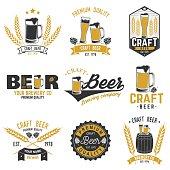 Set of Craft Beer badges. Vector illustration. Vintage design for bar, pub and restaurant business. Coaster for beer.