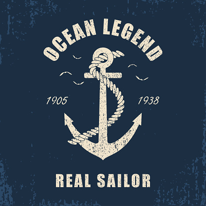 Vintage design for slogan t-shirt with anchor and rope.