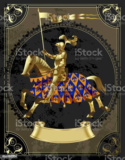 Vintage design template in decorative frame with a gold knight in the vector id894468954?b=1&k=6&m=894468954&s=612x612&h=mb8v mk64pnm pumumacuvb124mc1ro bpxwnzwnbby=
