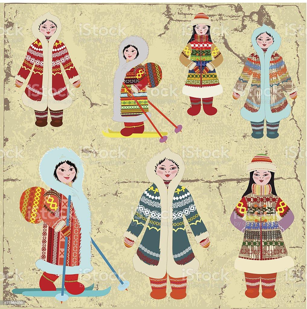 Vintage design with Eskimo women royalty-free stock vector art