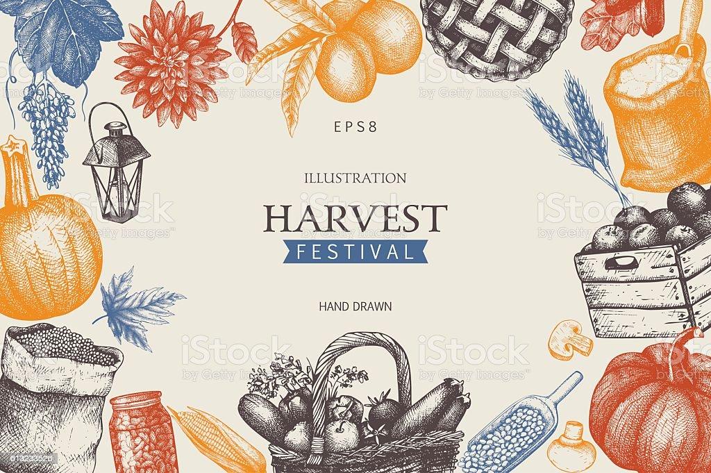 Vintage design with hand drawn harvest sketch. ベクターアートイラスト