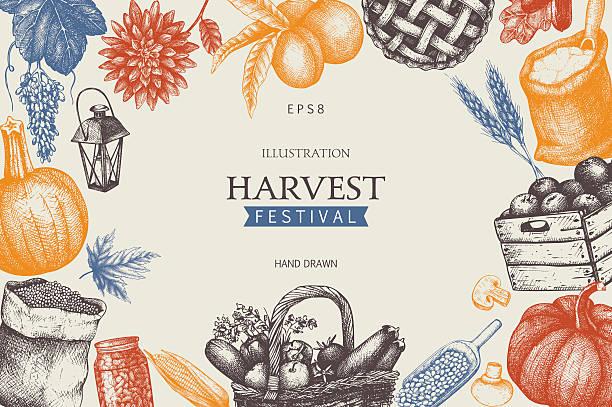 vintage design with hand drawn harvest sketch. - ホリデーシーズンと季節のフレーム点のイラスト素材/クリップアート素材/マンガ素材/アイコン素材