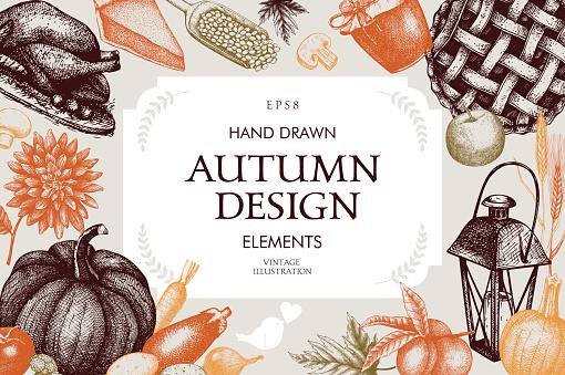 Vintage design with hand drawn harvest sketch.