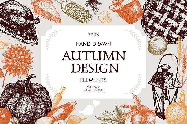 Vintage design with hand drawn harvest sketch. vector art illustration