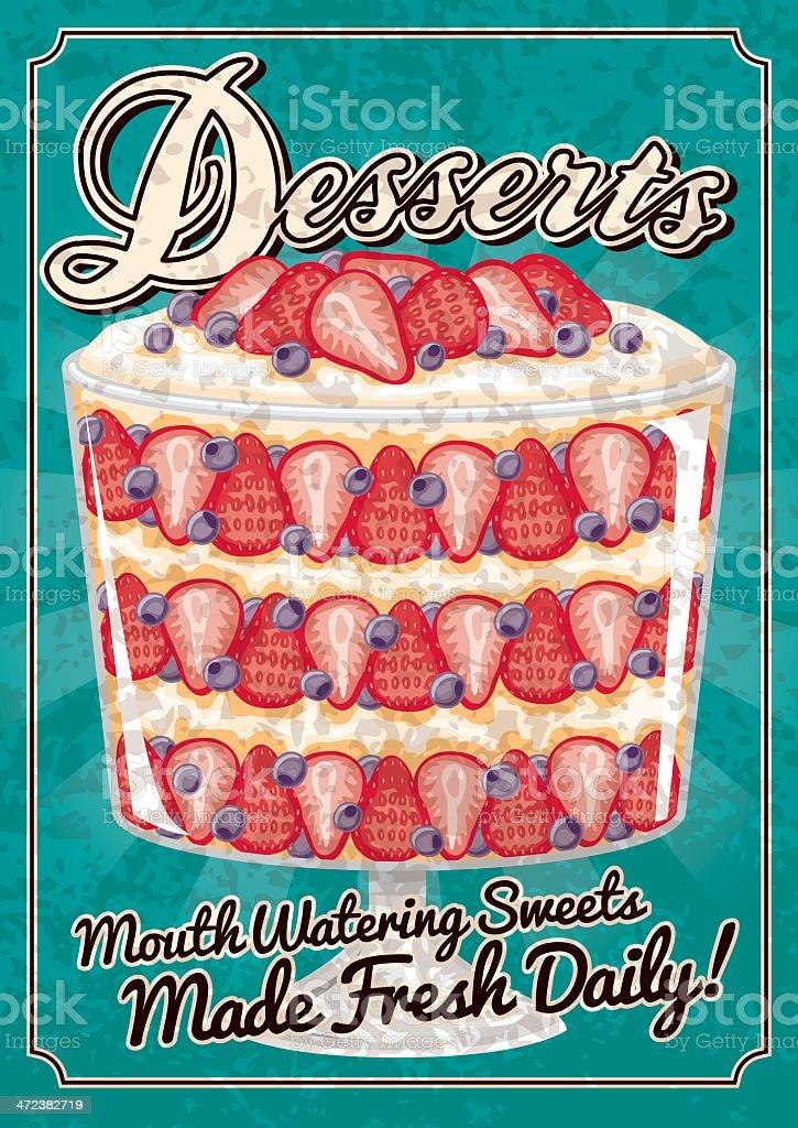 Vintage Desserts Poster royalty-free vintage desserts poster stock vector art & more images of berry fruit