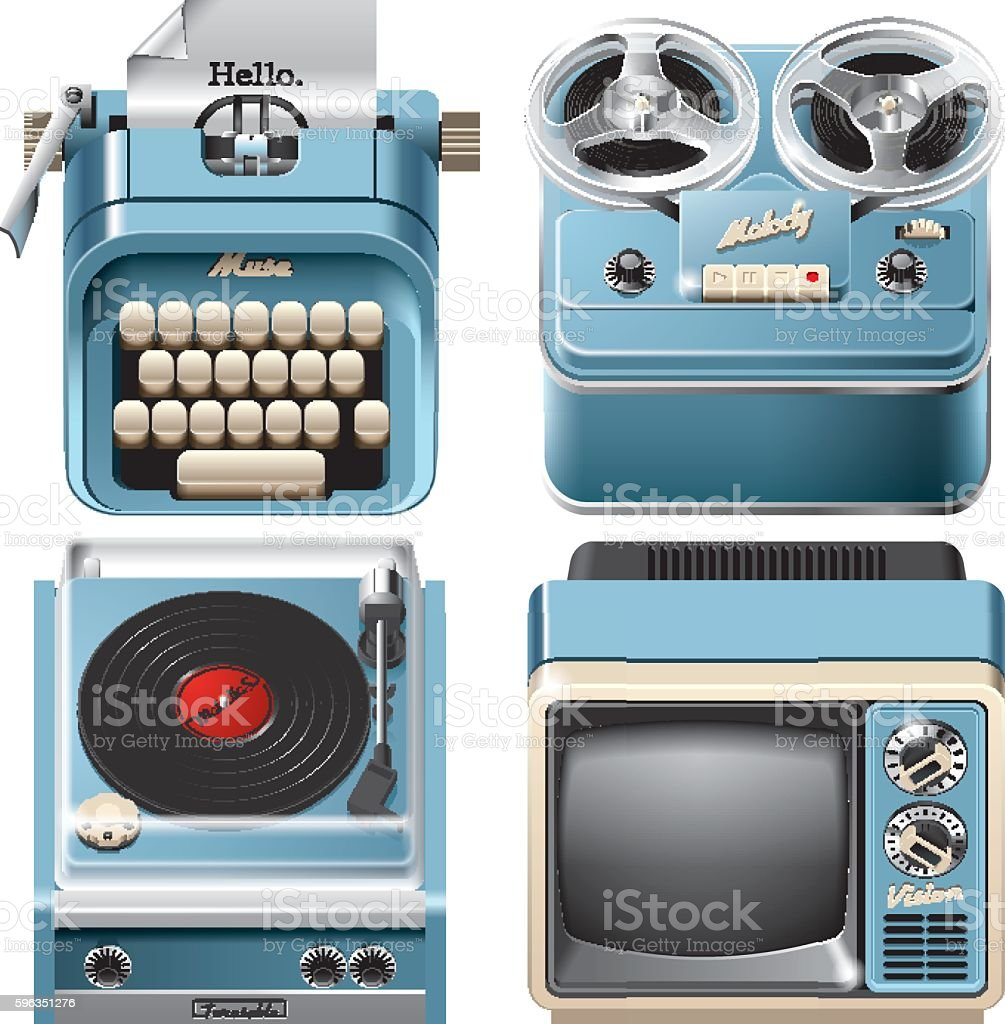 Vintage devices icons royalty-free vintage devices icons stock vector art & more images of analog