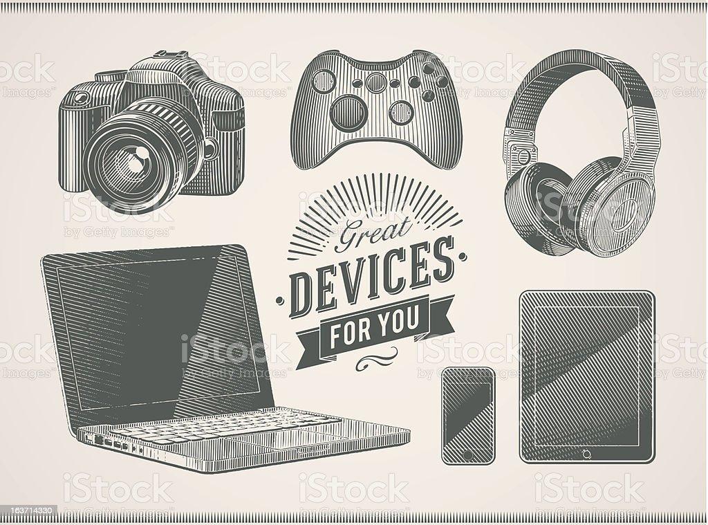 Vintage devices vector art illustration