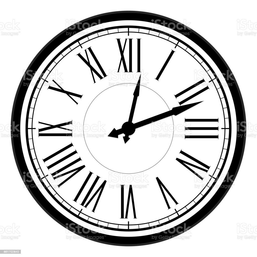 Vintage dial clock with roman numerals vector art illustration