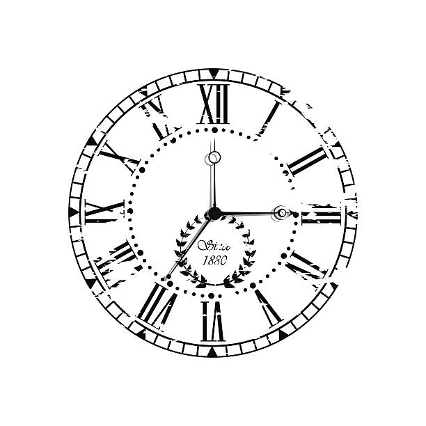 Vintage dial. Vector roman numeral clock vector art illustration