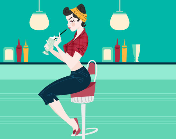 Vintage Diner Pin-Up Girl - illustrazione arte vettoriale