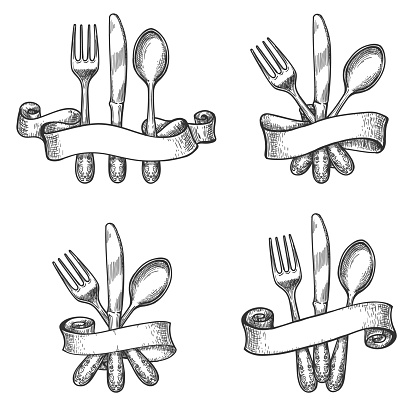 Vintage dinner table silverware set