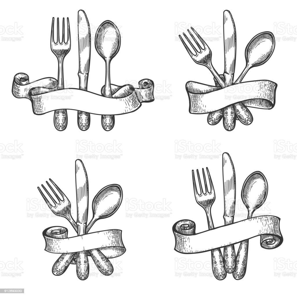 Vintage Tisch Besteck set – Vektorgrafik