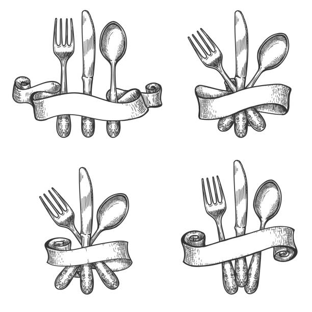 illustrazioni stock, clip art, cartoni animati e icone di tendenza di vintage dinner table silverware set - coltello posate
