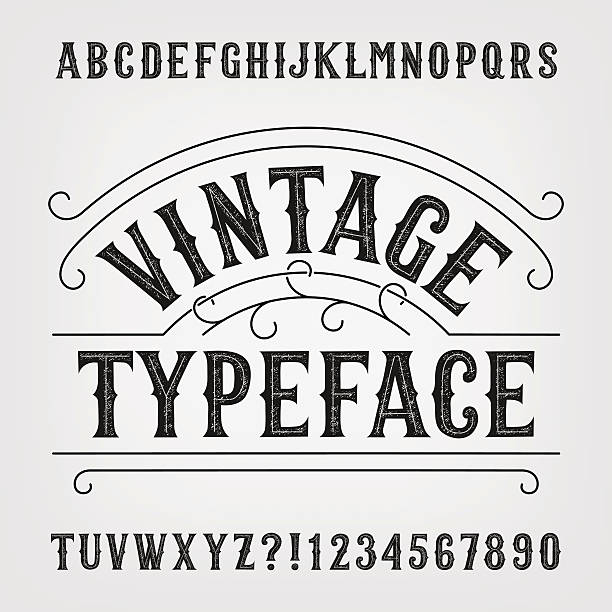 Vintage distressed alphabet vector font vector art illustration