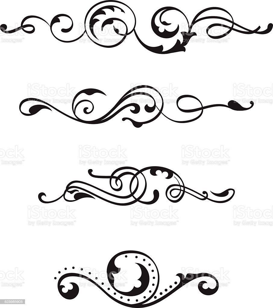 Vintage divide scrolls vector art illustration