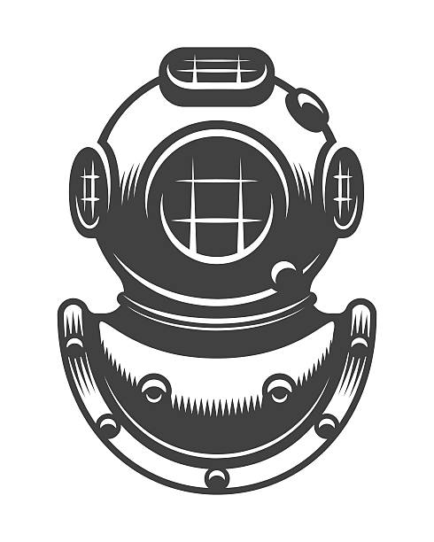 stockillustraties, clipart, cartoons en iconen met vintage diving helmet - radiobuis