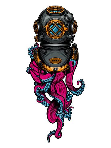 Vintage diving helmet with tentacles.