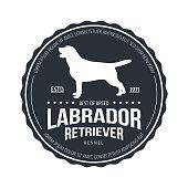Vintage Dog Badge. Labrador retriever. Vector illustration.