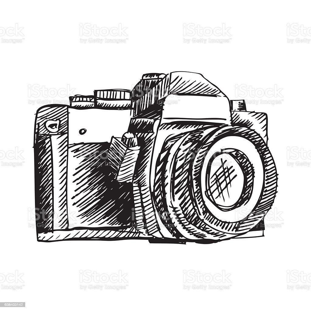 Vintage Doodle Camera Hand Drawn Royalty Free Handdrawn Stock Vector