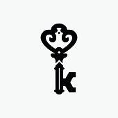 Vintage Door Key Vector Symbol, Company Vector Symbol with Letter K