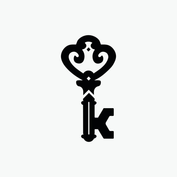 Vintage Door Key Vector Symbol, Company Vector Symbol with Letter K Vintage Door Key Vector Symbol, Company Vector Symbol with Letter K k logo illustrations stock illustrations