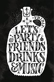 Poster bottle with hand drawn lettering Menu, Party, Friends, Drinks, Music. Vintage drawing cover menu for pub, bar, cafe and restaurant, menu and drink card, t-shirt print. Vector Illustration