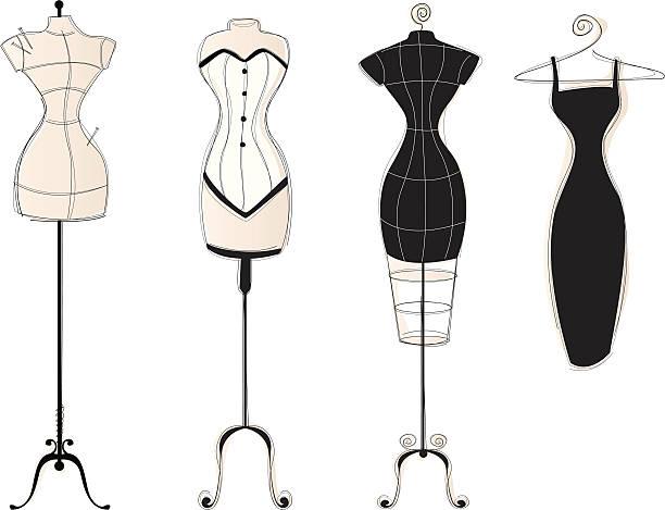 vintage kleid formen part2 - couture stock-grafiken, -clipart, -cartoons und -symbole