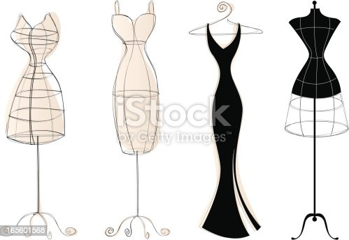 3 vintage-style dress forms and an elegant dress on a hanger.