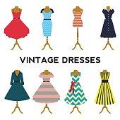 Vintage dresses vector set. Colourful retro dresses with mannequin