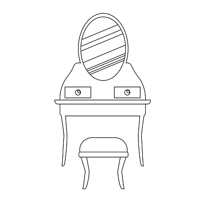 Vintage dressing table with  stool  a linear style . Vector outline of vintage furniture for bedroom and living room.  The vector illustration is isolated on a white background. sketch