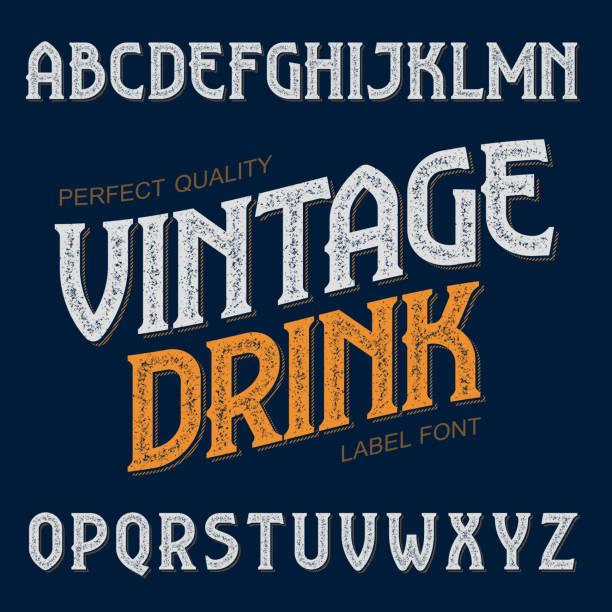 bildbanksillustrationer, clip art samt tecknat material och ikoner med vintage drink label font - pub