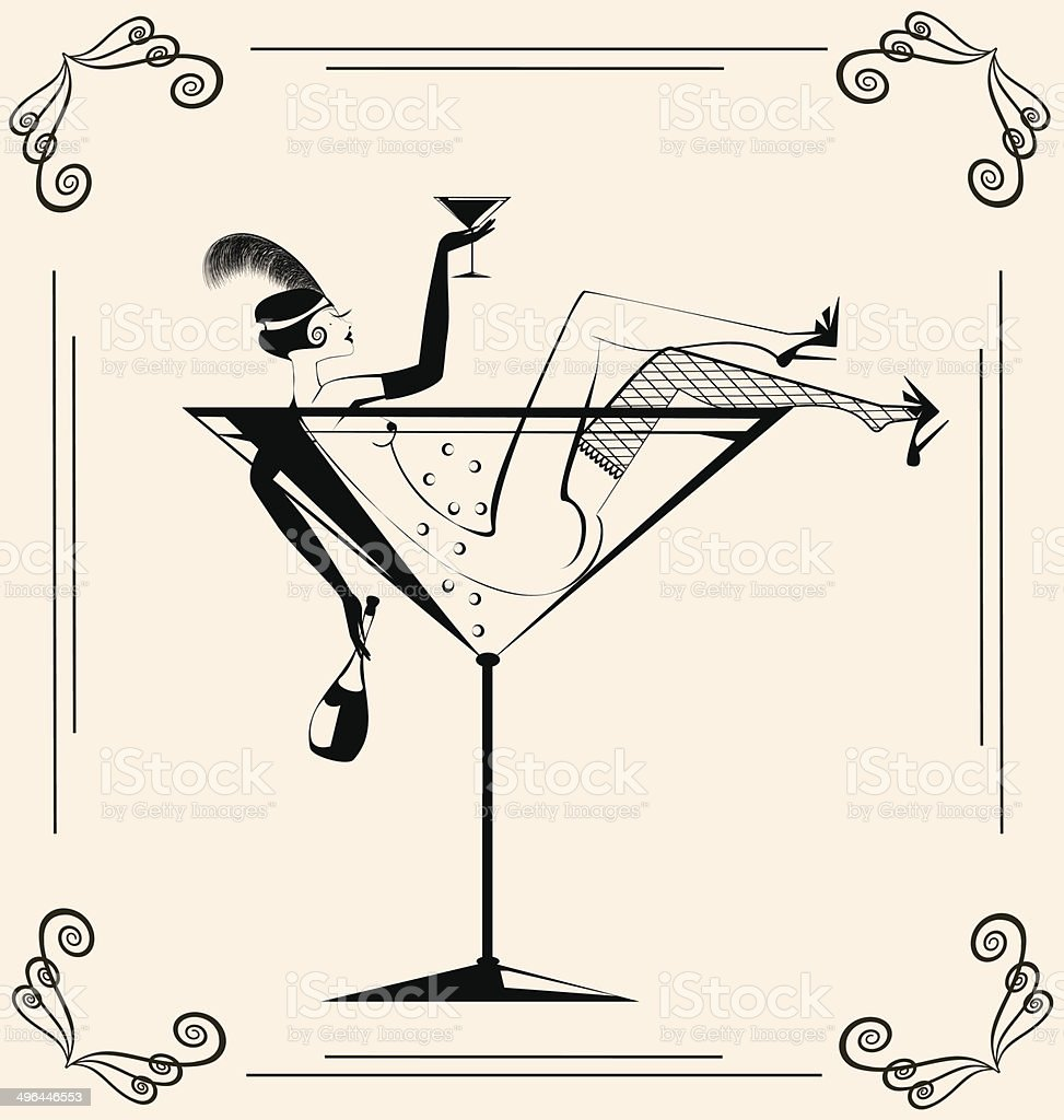 vintage drinking girl in the glass vector art illustration