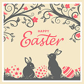 An Easter greeting card for bunnies egg hunt event in vintage style