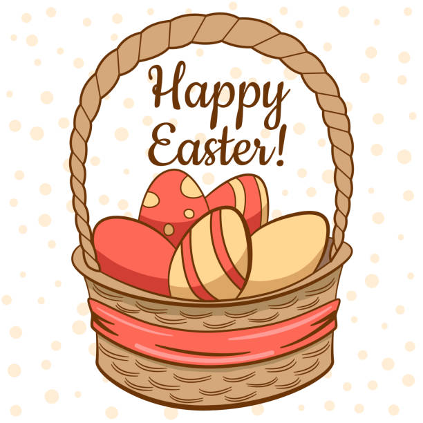 vintage easter card in vector - stripped pattern stock illustrations, clip art, cartoons, & icons