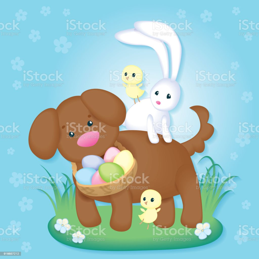 Vintage Easter Card With Cute Puppy, Chickens And Easter Bunny.  Royalty Free Vintage