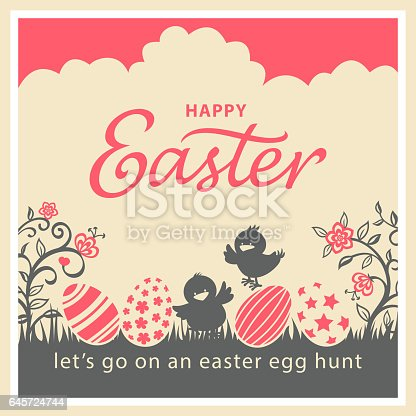 An Easter greeting card for chicks egg hunt event in vintage style