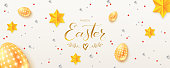 Vintage Easter pattern on white background. Creative hand written calligraphic text of greetings for easter holidays. Golden and silver toys in abstract pattern. Design of template for posters.