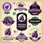 A collection of vintage styled eggplant labels. EPS 10 file, layered & grouped, with meshes and transparencies (shadows & overall effects only).