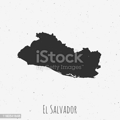 Black and white El Salvador map in trendy vintage style, isolated on a dusty white background. A grunge texture is used to have a retro and worn effect. His name is written on the bottom of the image. Vector Illustration (EPS10, well layered and grouped). Easy to edit, manipulate, resize or colorize.