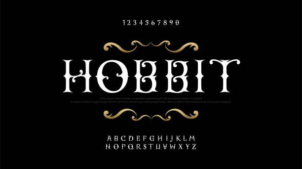 bildbanksillustrationer, clip art samt tecknat material och ikoner med vintage eleganta alfabetet bokstäver serif teckensnitt som. exklusiva gamla bokstäver typografi typsnitt klassisk stil. vektor illustration - gotisk stil