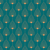 istock Vintage elegant Art Deco style seamless pattern with copper floral/fan shape motifs on dark green background. Orange and teal colored art deco repeat vector pattern. 1210882623
